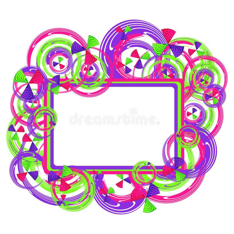 Círculos abstratos de todas as cores em um quadro para crianças, ilustração da imagem dos círculos com espaço para o texto ilustração royalty free
