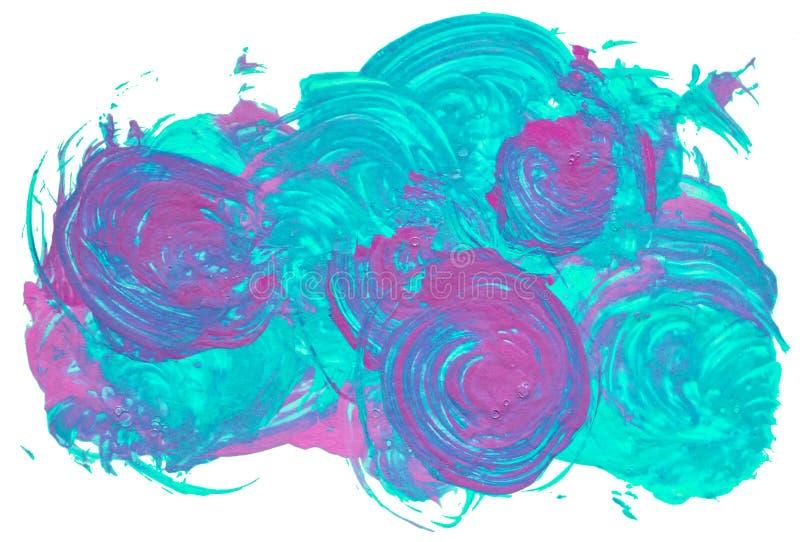 Círculos aislados de la brocha con el acrílico violeta y azul de neón de los colores ilustración del vector