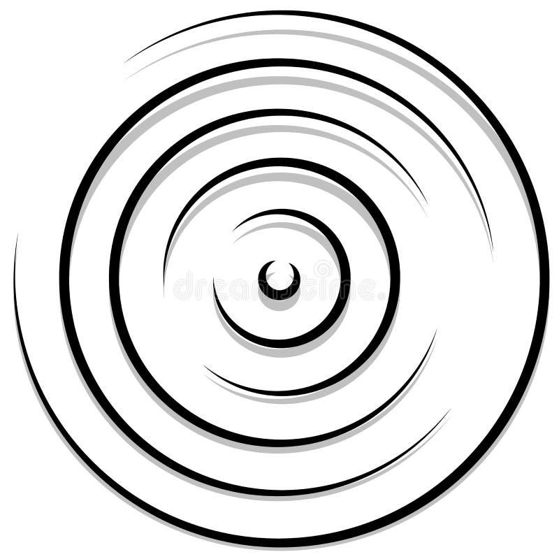 Círculos aleatórios concêntricos com linhas dinâmicas Espiral circular, s ilustração do vetor