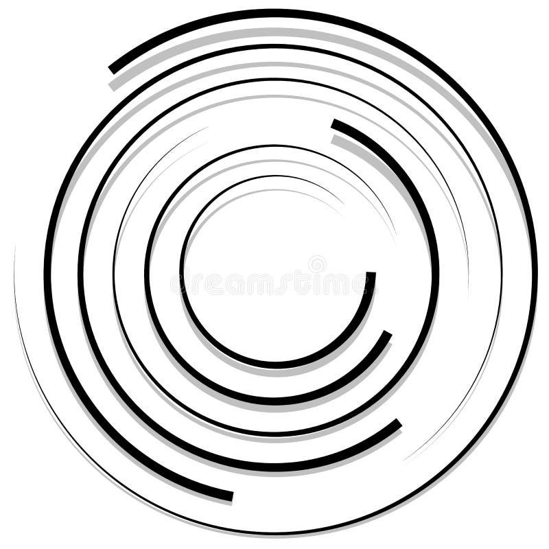 Círculos aleatórios concêntricos com linhas dinâmicas Espiral circular, s ilustração stock