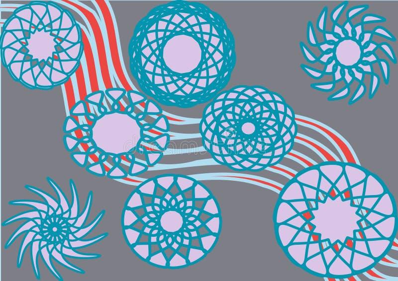 Círculos azules de la armonía decorativa stock de ilustración