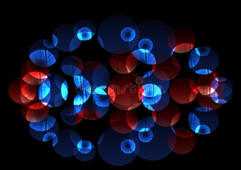 Círculos azules y rojos luminosos caóticos brillantes libre illustration