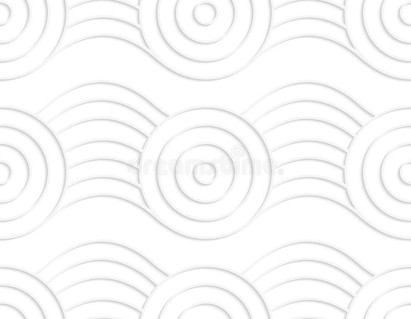 Círculos brancos de papel na fita inflando ilustração do vetor