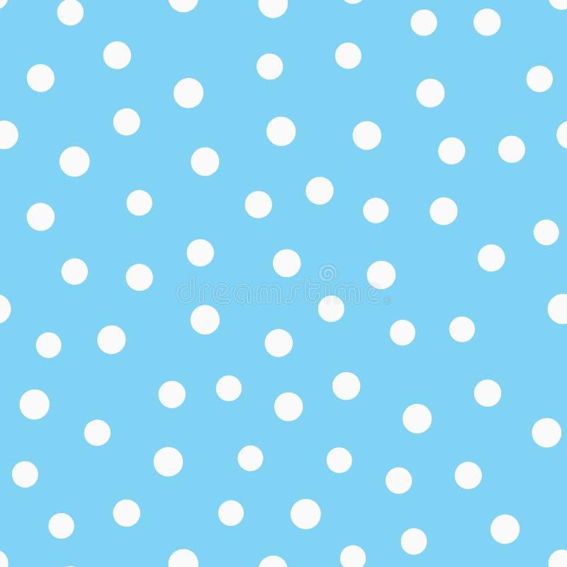 Círculos brancos dispersados em um fundo azul Teste padrão sem emenda simples Tirado à mão ilustração royalty free
