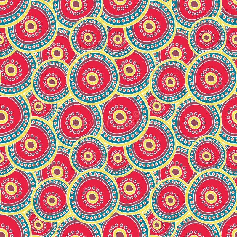 Círculos carmesís brillantes que acodan en uno a ilustración del vector