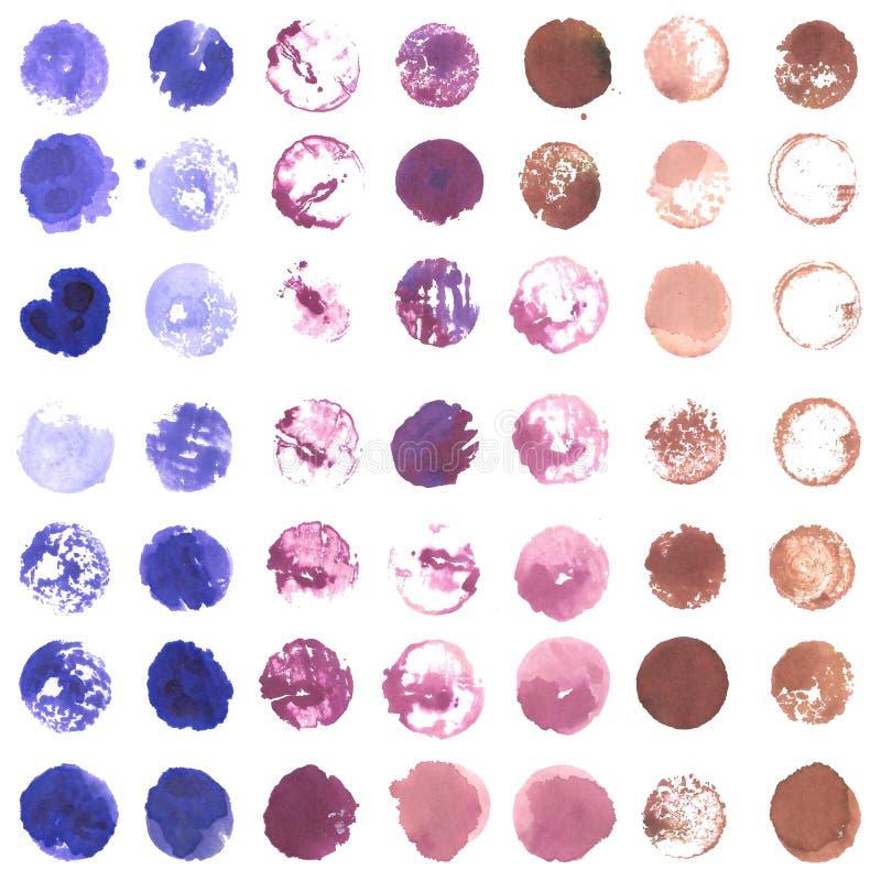 Círculos coloreados de la variable (púrpura, rosado, marrón) creados con el vino stock de ilustración