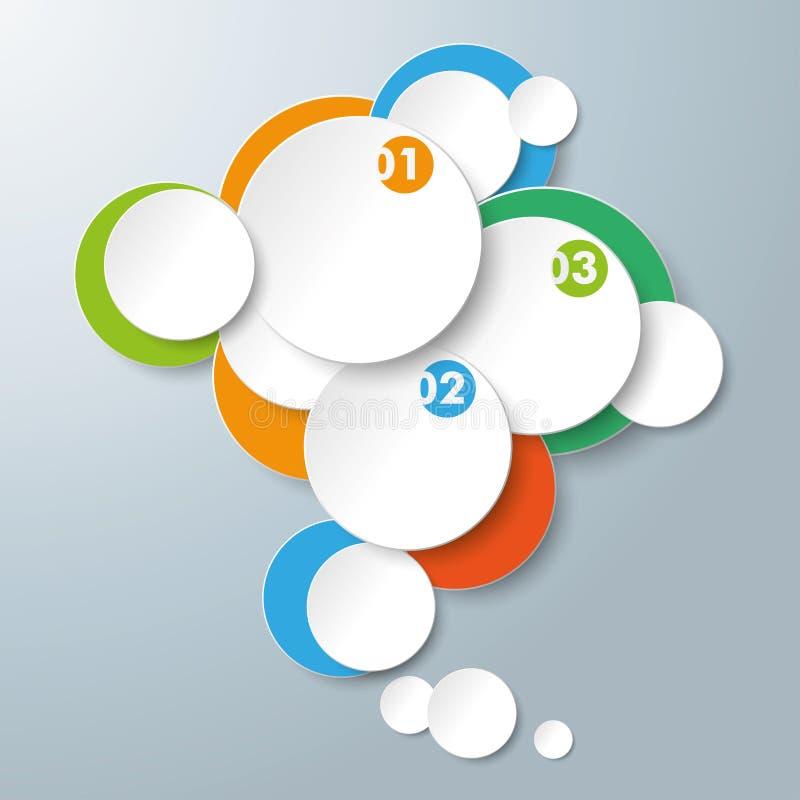 Círculos coloreados de los anillos blancos de Infographic stock de ilustración