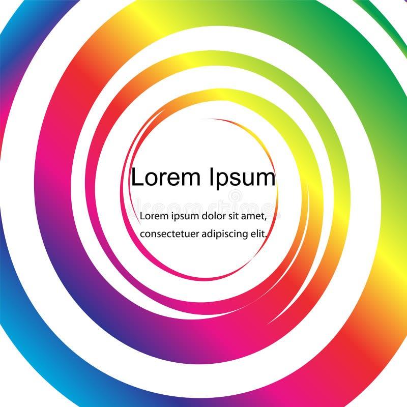 Círculos coloreados del arco iris en el fondo blanco, abstracto Plantilla para las etiquetas, banderas, insignias, carteles stock de ilustración
