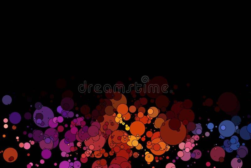 Círculos coloreados en un fondo negro stock de ilustración
