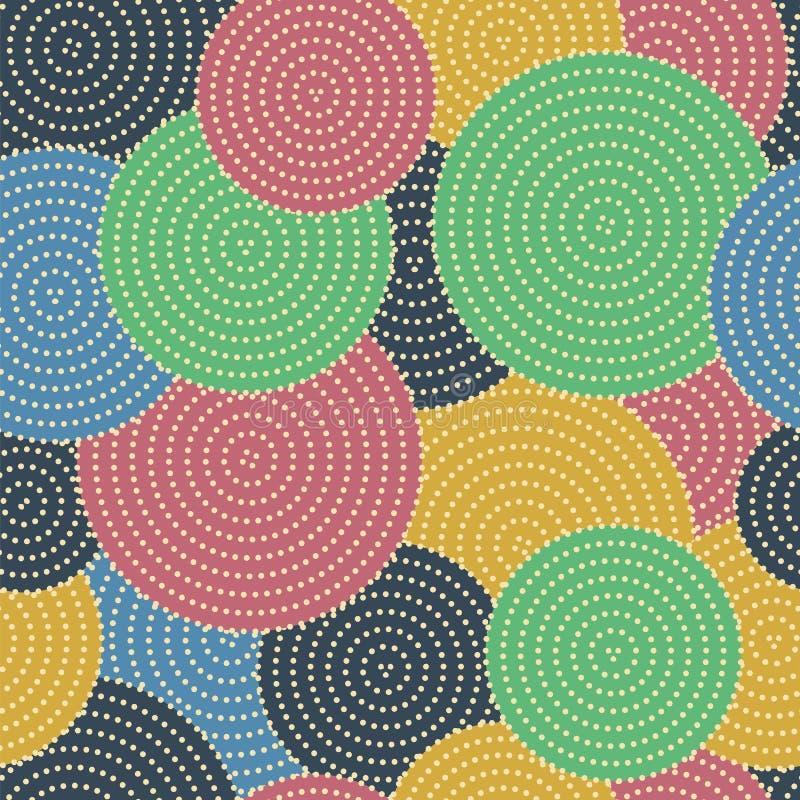 Círculos coloreados grandes con los pequeños puntos en círculos Vect inconsútil stock de ilustración