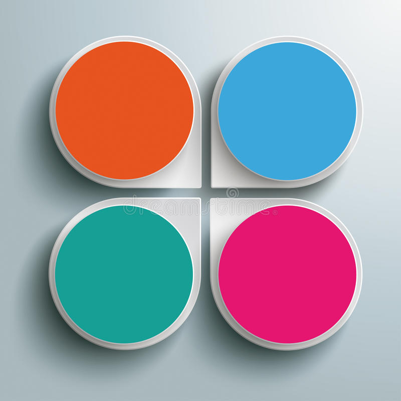 Círculos coloreados PiAd de la flor 4 abstractos blancos de los descensos de Infographic stock de ilustración