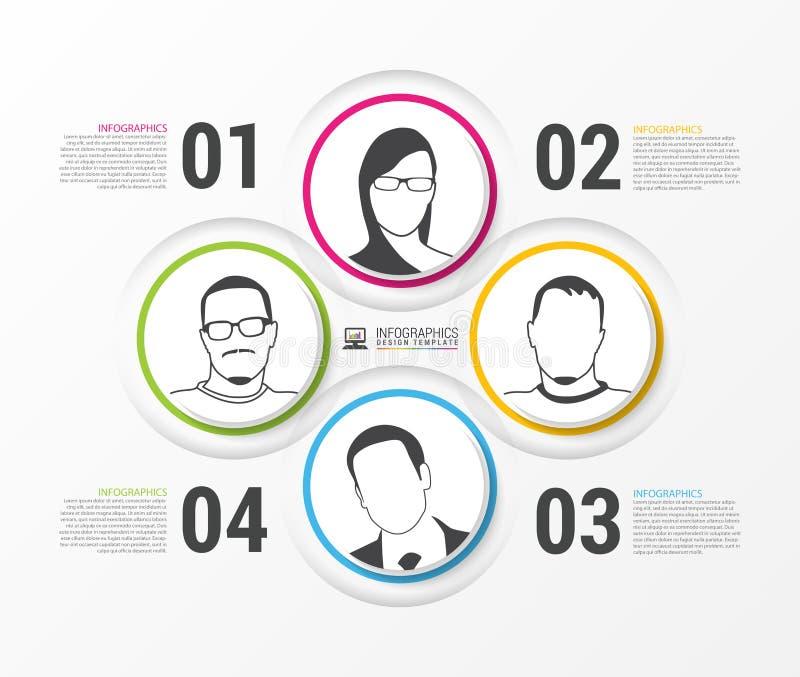 Círculos coloridos abstractos con los iconos de la gente Infographic Vector ilustración del vector