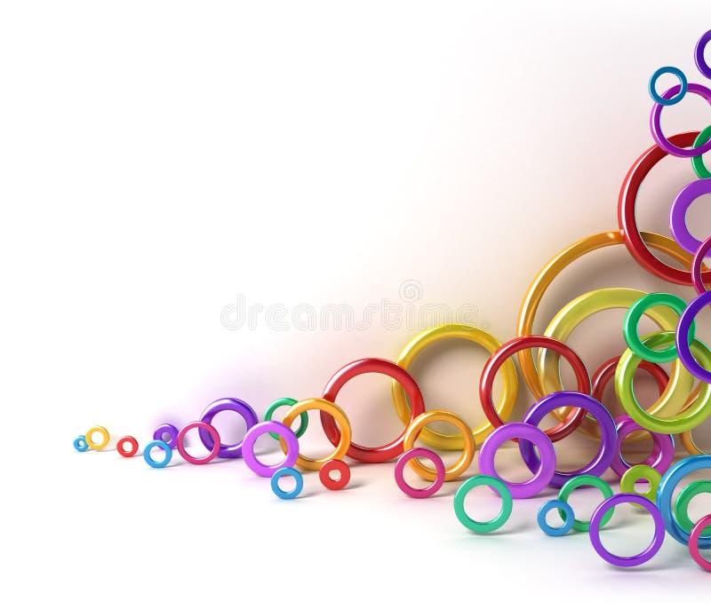 Círculos coloridos brillantes bajo la pared blanca ilustración del vector