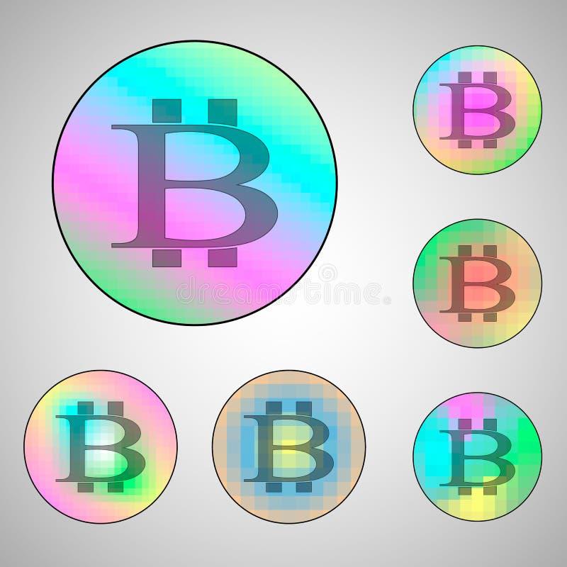 Círculos coloridos con las muestras del bitcoin ilustración del vector