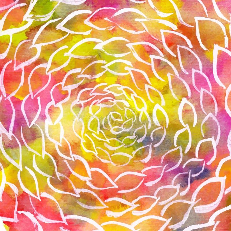 Círculos coloridos del remolino de las hojas de la acuarela libre illustration