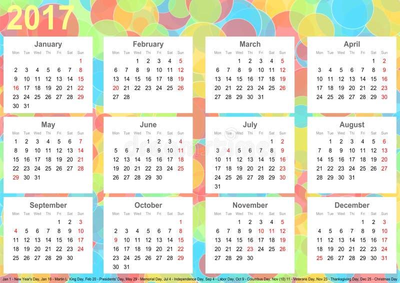 Círculos 2017 coloridos do fundo do calendário EUA ilustração do vetor