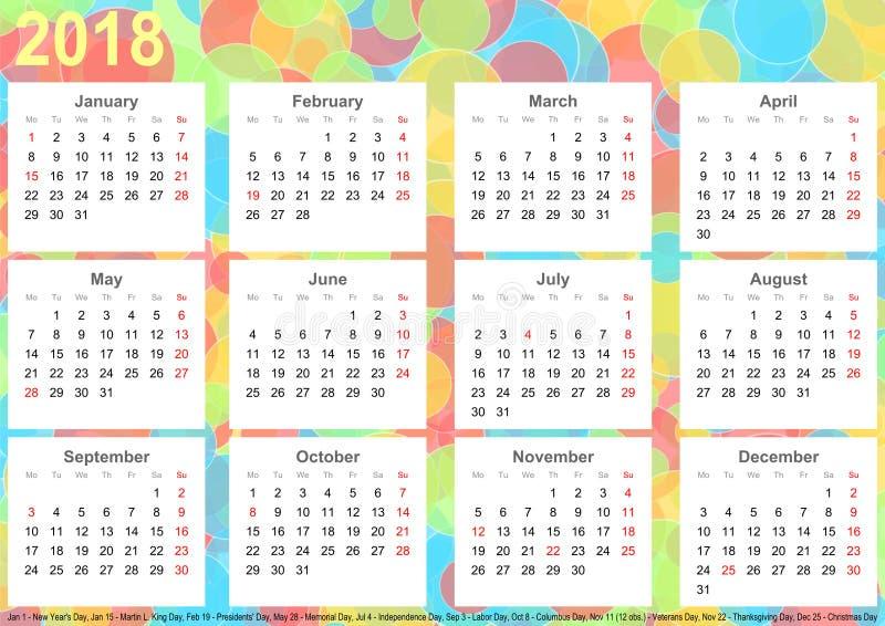 Círculos 2018 coloridos do fundo do calendário EUA ilustração stock