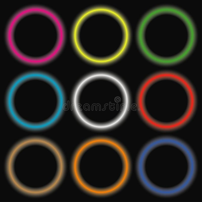 Círculos coloridos do néon Bandeiras arredondadas luz de incandescência abstratas Vetor ilustração do vetor