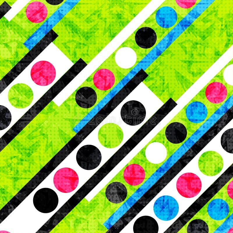 Círculos coloridos e polígono brilhantes bonitos Fundo psicadélico geométrico Efeito do Grunge ilustração royalty free