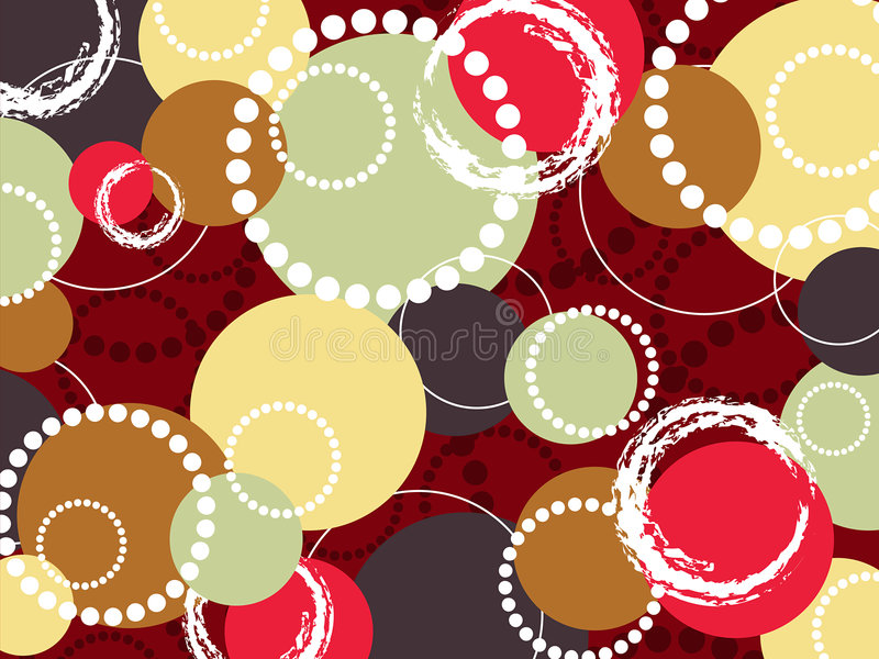 Círculos coloridos e pontos do PNF retro ilustração stock