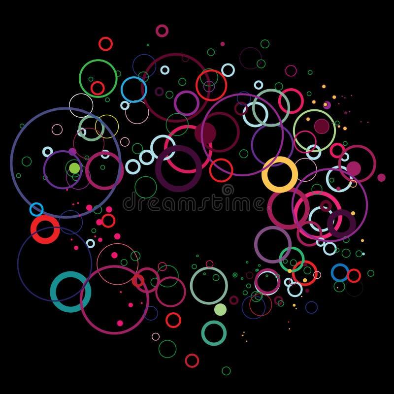 Círculos coloridos no preto ilustração do vetor