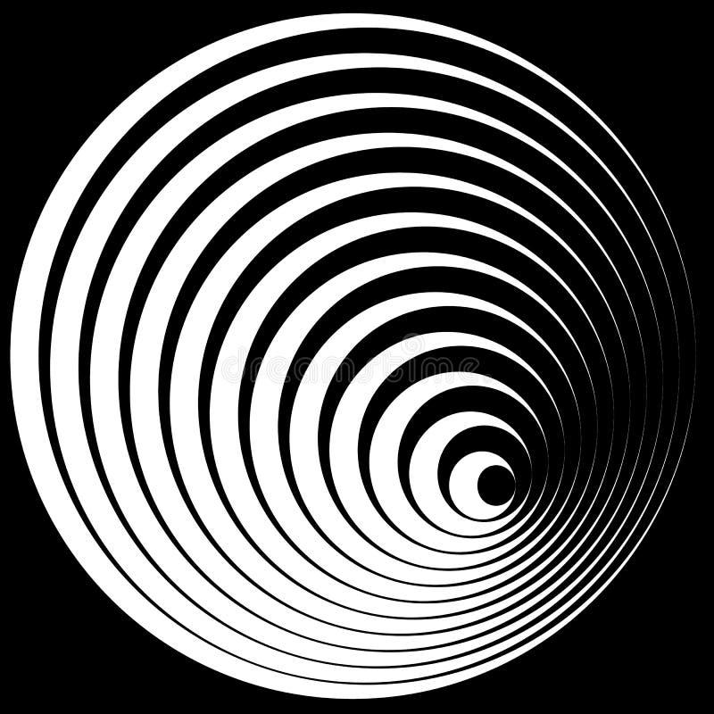 Círculos concéntricos con el elemento del extracto del perfil del movimiento stock de ilustración