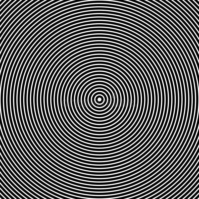 Círculos concéntricos Gráficos blancos y negros abstractos ilustración del vector