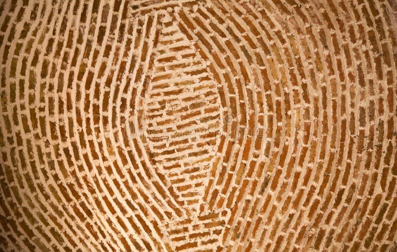 Círculos concéntricos México de la pared de ladrillo de Adobe fotografía de archivo libre de regalías