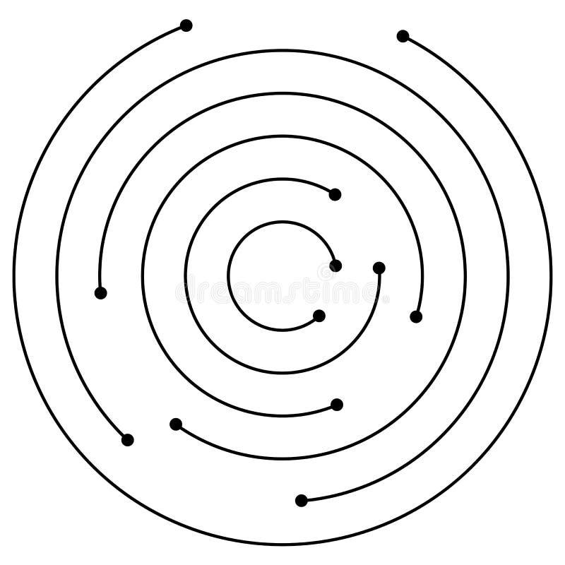 Círculos concêntricos aleatórios com pontos Circular, ele do projeto da espiral ilustração stock