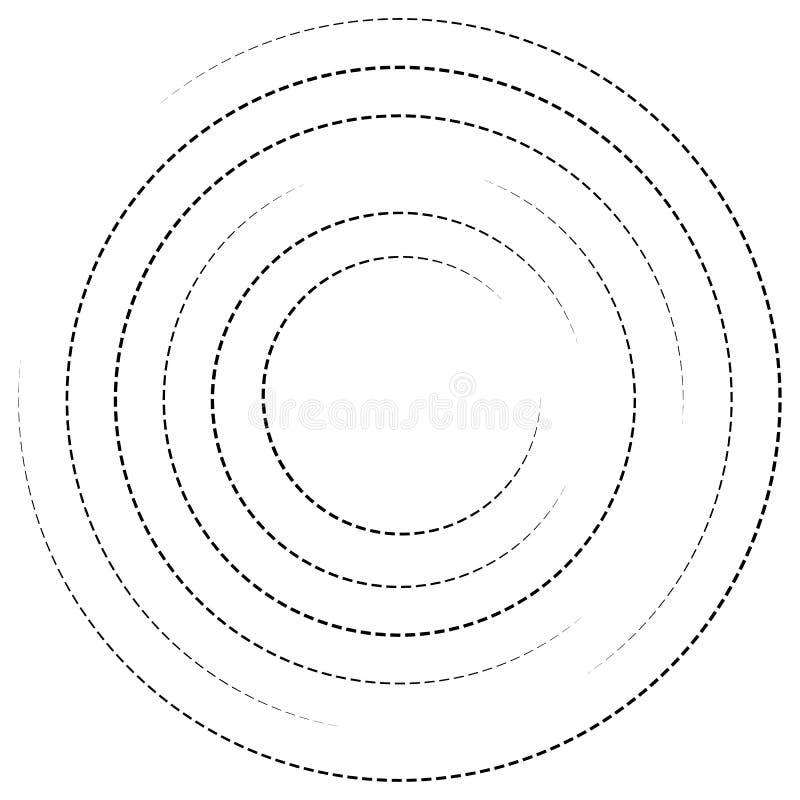 Círculos concêntricos com linhas tracejadas Elemento espiral circular ilustração do vetor