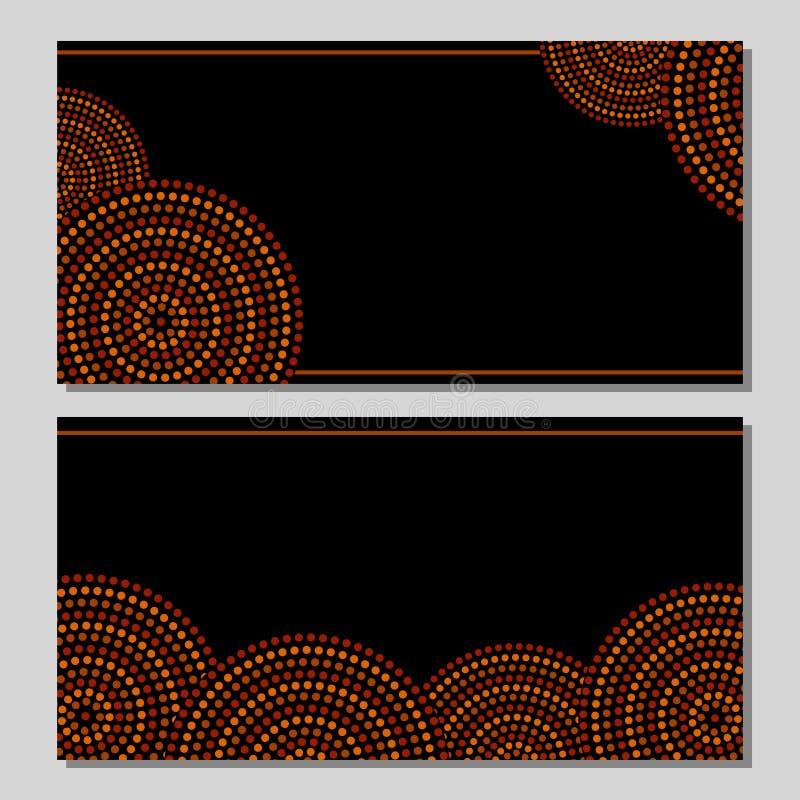 Círculos concêntricos da arte geométrica aborígene australiana em marrom e preto alaranjados, grupo de dois cartões, ilustração stock