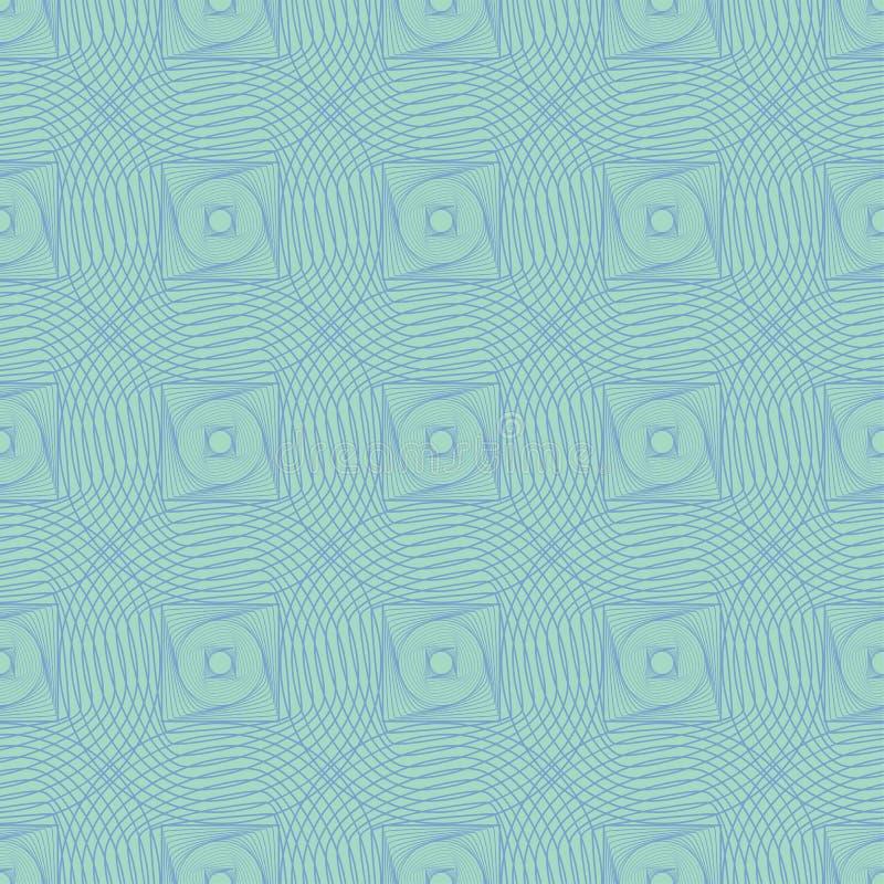 Círculos concêntricos de entortamento infinitos e linha sem emenda arte do teste padrão da repetição dos quadrados ilustração stock