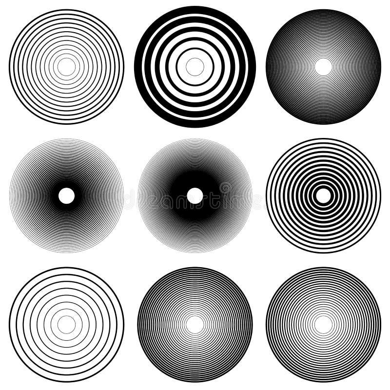 Círculos concêntricos, linhas radiais testes padrões Sumário monocromático ilustração stock