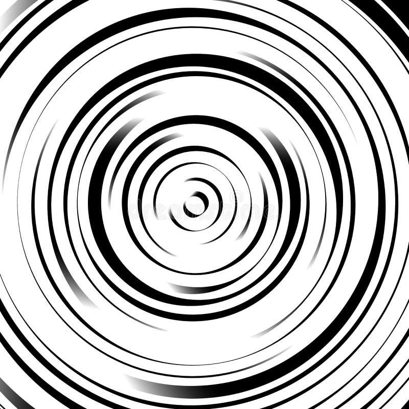 Círculos concêntricos radiais com linhas irregulares, dinâmicas Abstrac ilustração royalty free