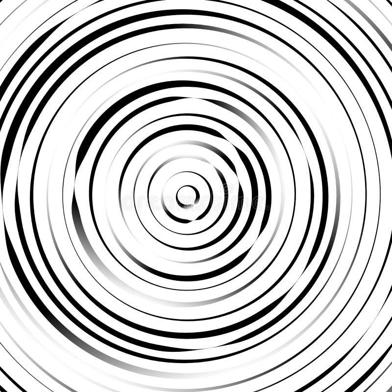 Círculos concêntricos radiais com linhas irregulares, dinâmicas Abstrac ilustração do vetor