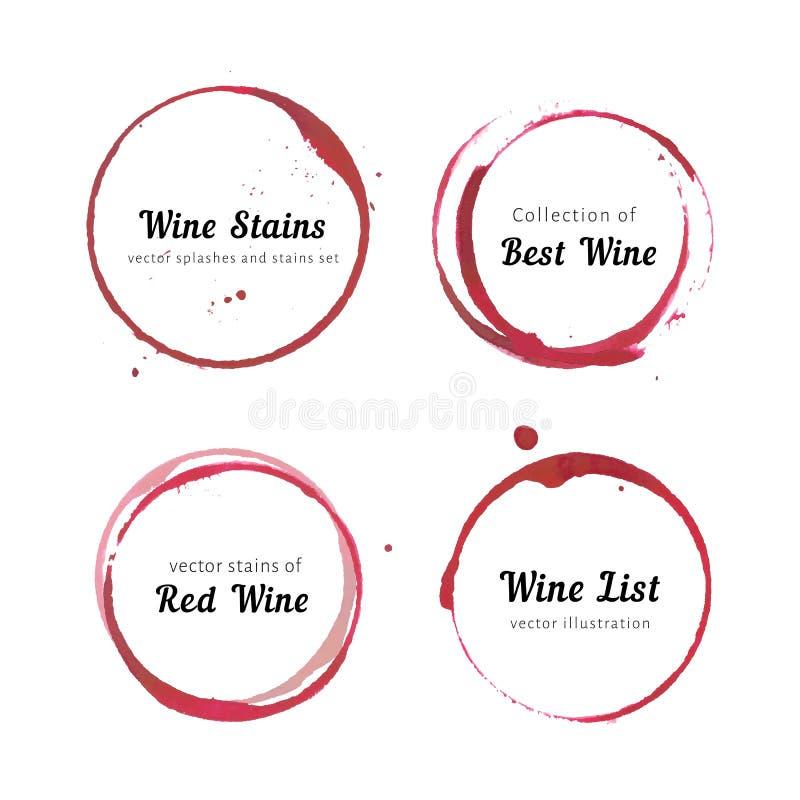 Círculos da mancha do vinho imagem de stock