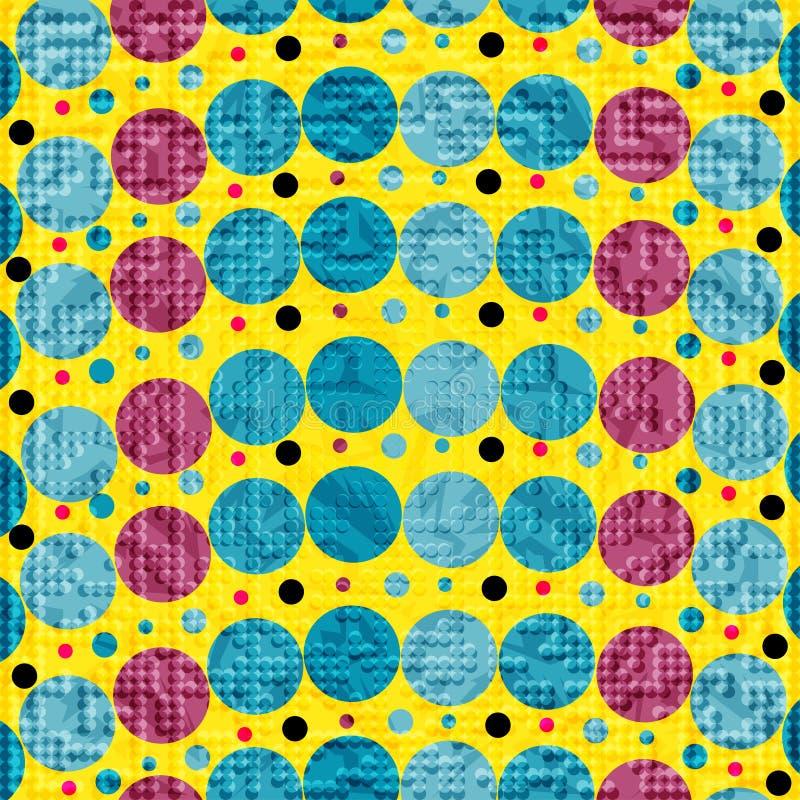 Círculos de color brillantes en un fondo amarillo un ejemplo del vector ilustración del vector
