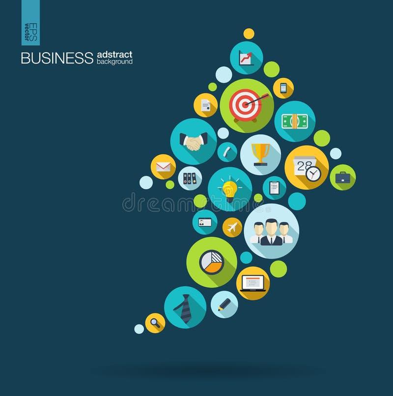 Círculos de color con los iconos planos en una flecha encima del negocio, estudio de mercados, estrategia, misión, conceptos del  stock de ilustración