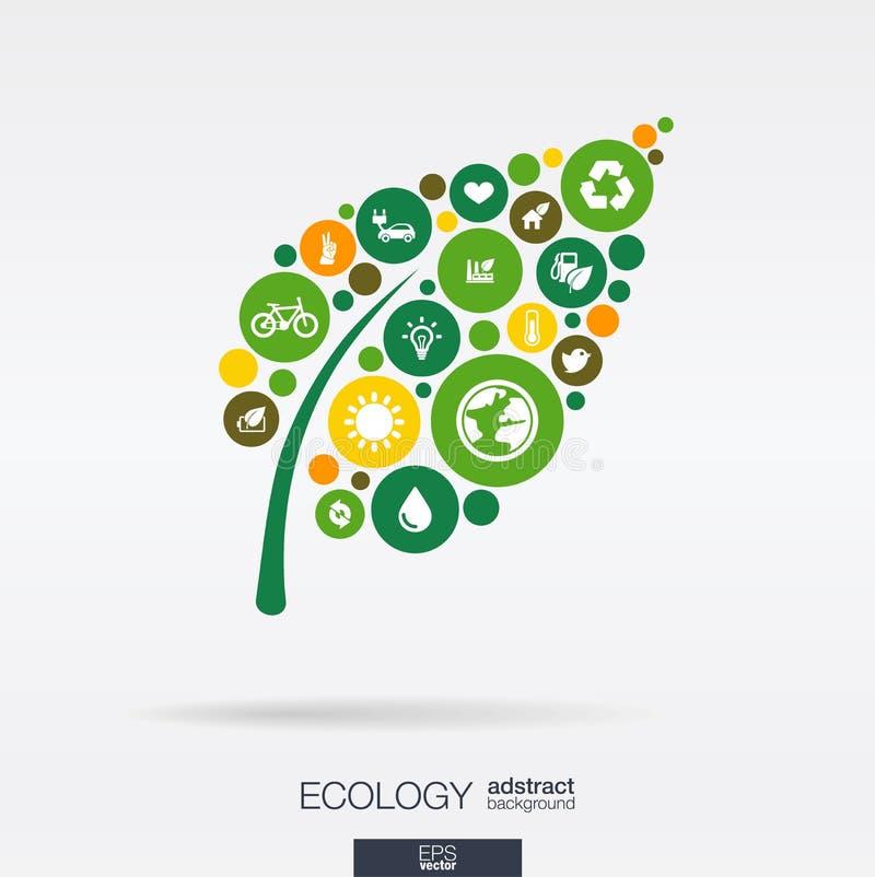 Círculos de color, iconos planos en una forma de hoja: ecología, tierra, verde, reciclando, naturaleza, conceptos del coche del e ilustración del vector