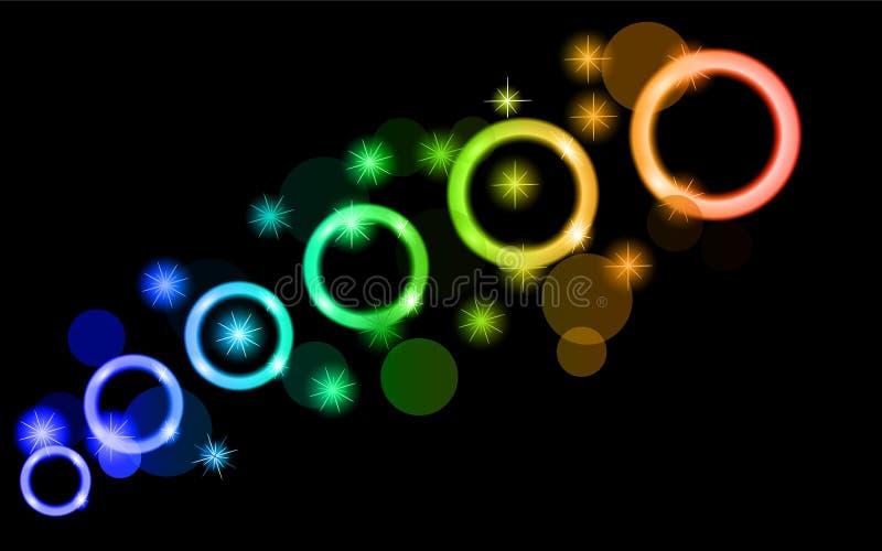 Círculos de incandescência abstratos, coloridos, de néon, brilhantes, verdes, verdes, azuis, bolas, bolhas, planetas com estrelas ilustração royalty free