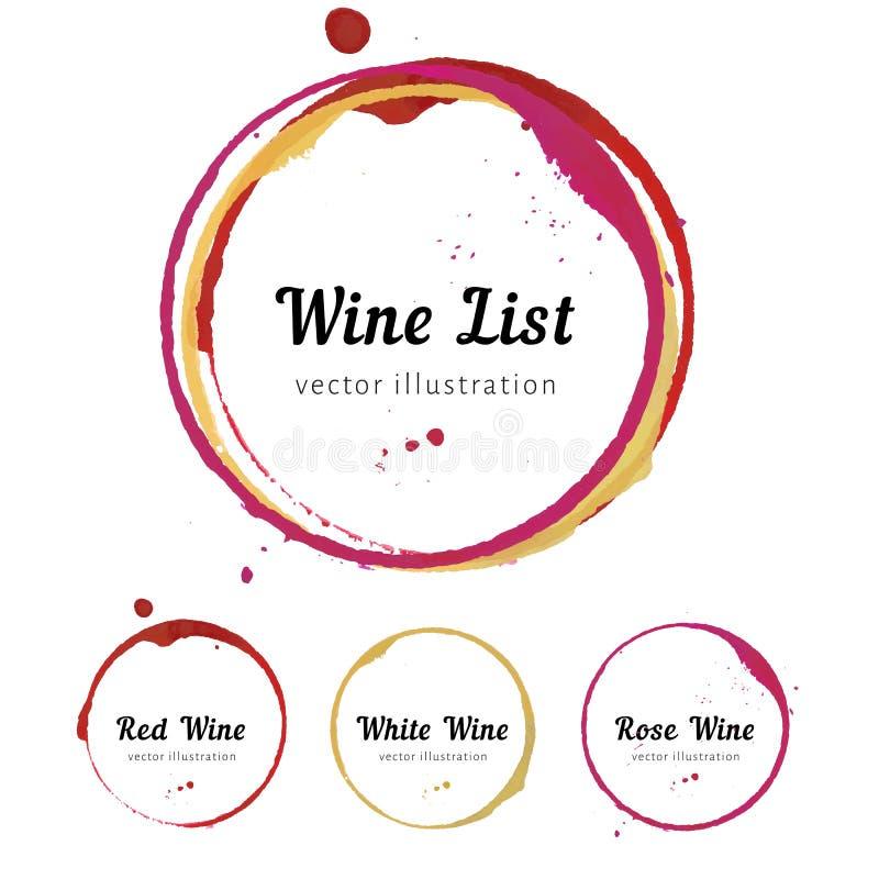 Círculos de la mancha del vino ilustración del vector