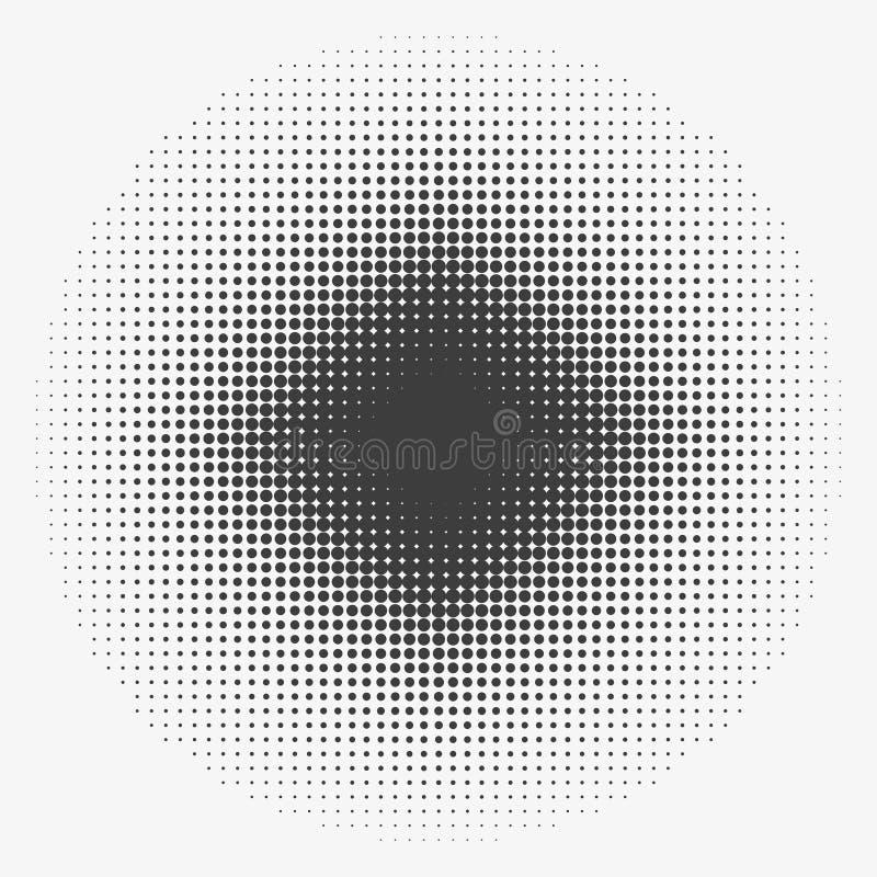 Círculos de semitono abstractos, modelo de puntos de semitono Ejemplo de moda plano del vector stock de ilustración