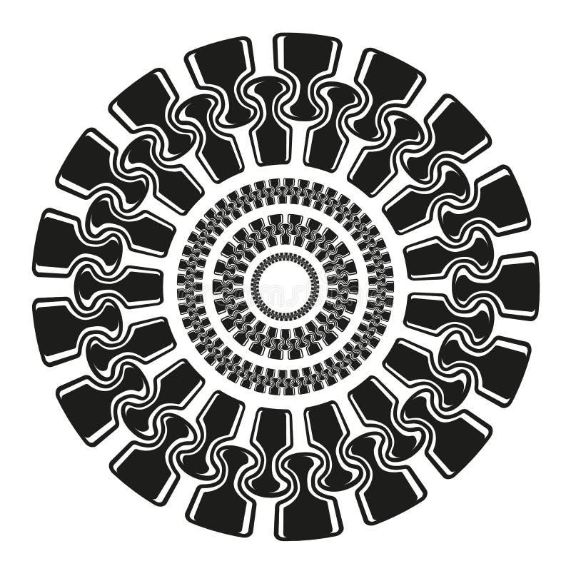Círculos de zíper em forma de círculo ao preto de estilo simples ilustração stock