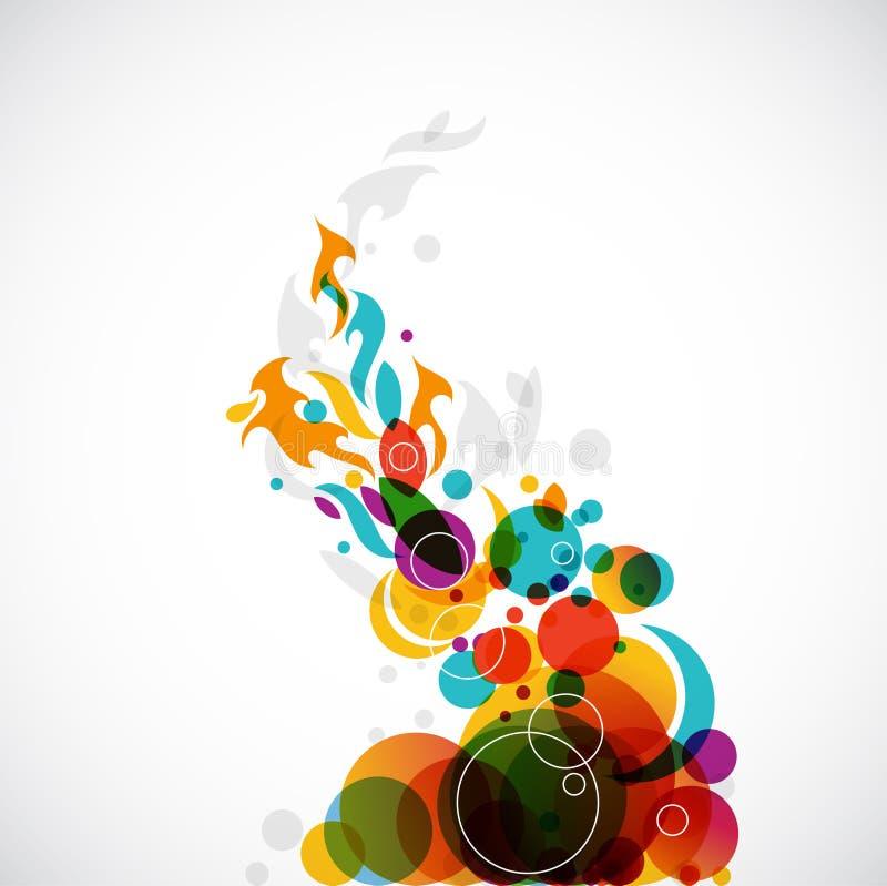Círculos del arco iris que cambian a las llamas stock de ilustración