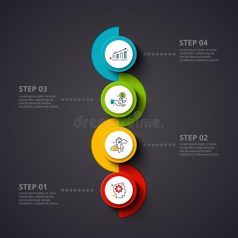 Círculos del vector infographic en un fondo oscuro Puede ser utilizado para la presentación, diagramas, informe anual, diseño web stock de ilustración