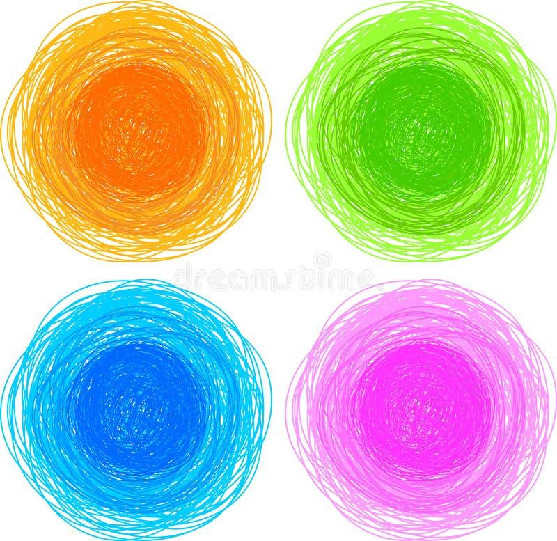 Círculos desenhados do lápis mão colorida ilustração do vetor