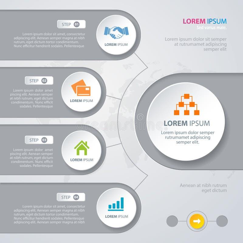 Círculos do branco do projeto de Infographic do vetor ilustração stock