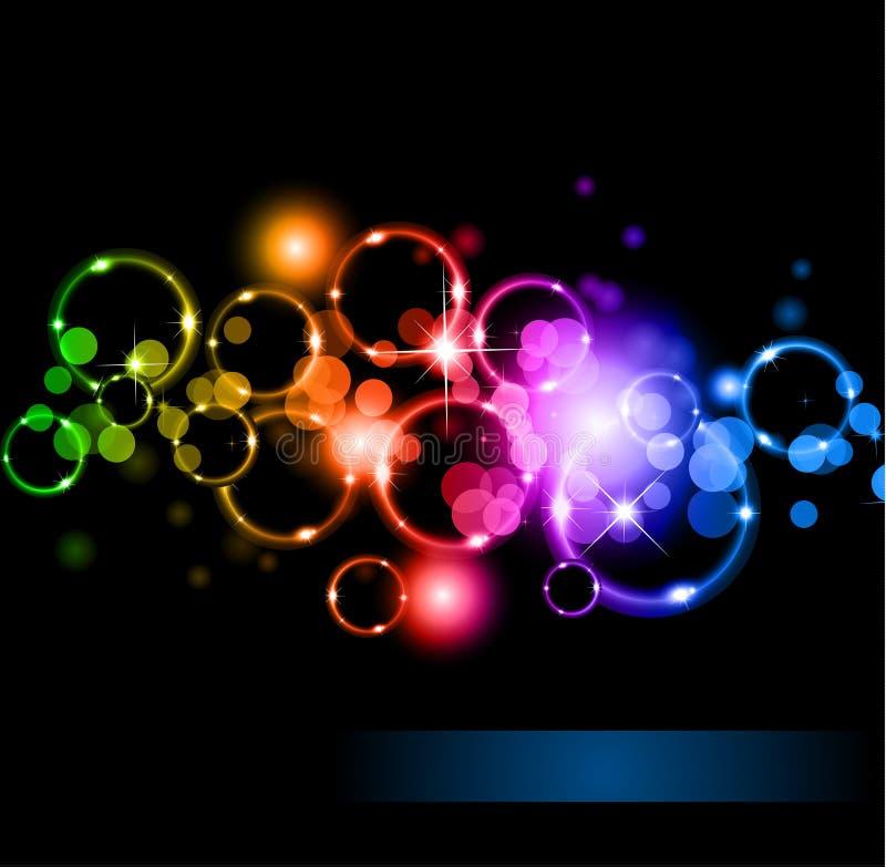 Círculos do llight com cores de Raibow ilustração royalty free