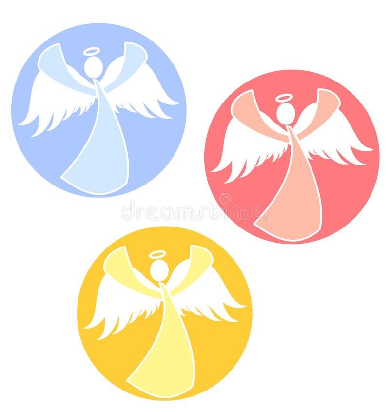 Círculos dos ícones dos anjos do Natal ilustração stock