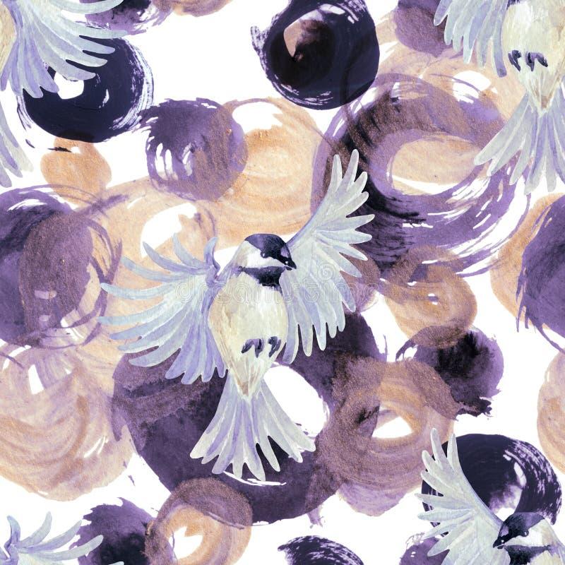 Círculos dourados e roxos da aquarela abstrata com pássaros ilustração stock
